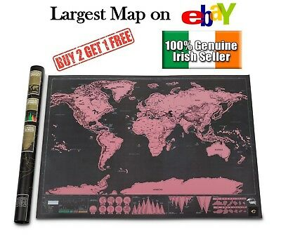 Xl Large Scratch Off World Map Poster Personalized Travel Vacation Personal Gift