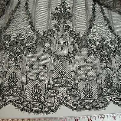 Antique (20th Century) Black French Silk Chantilly Lace (2 Pcs)