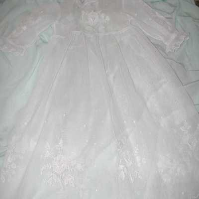 Antique CHARMING Hand Embroidered Tulle Christening Dress (Edwardian)