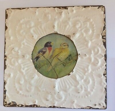 "Antique Ceiling Tin Wall Tile Birds - Art 11.25"" Square"