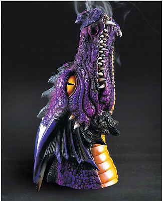 LARGE PURPLE DRAGON HEAD Incense Stick Burner FREE HEM INCENSE!!