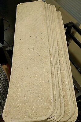Set of 15 Skid-Resistant Carpet Stair Treads - Ivory, 8 x 30""
