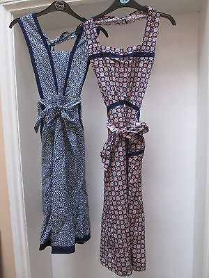 2 Authentic Vintage Unused Full Length Cotton Aprons.Pinnies, Overalls.