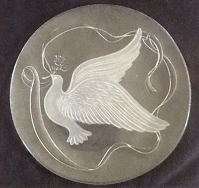 """Vintage LE Smith Glass Dove Crystal Tray Platter Original Box 13"""" Satin Frosted"""