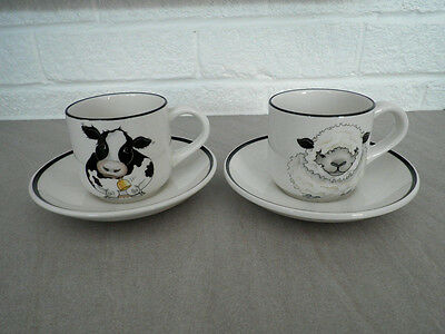 Arthur Wood 'Back to Front' Cups & Saucers x 2 Cow and Sheep