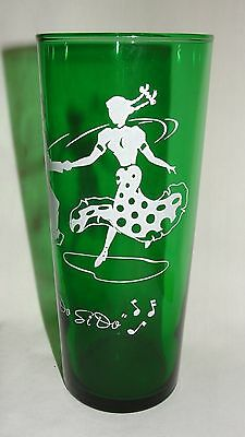 "1950's Anchor Hocking Forest Green 6.5"" Square Dance Tumbler   ""DO SI DO"""