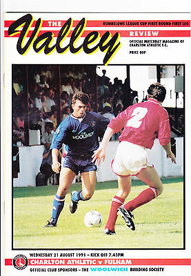Charlton Athletic  V Fulham  League Cup  21/8/91