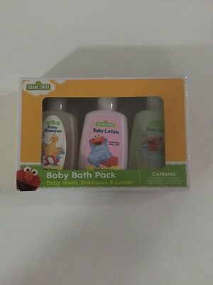 3 Pc Bath Set Sesame Street Baby Lotion Shampoo Wash Travel Set Gift Shower