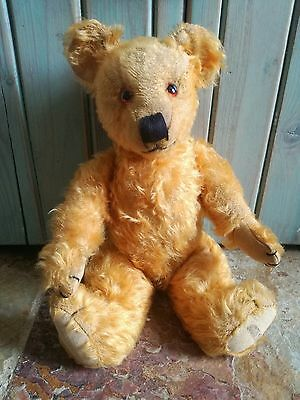 OLD VINTAGE ANTIQUE MERRYTHOUGHT GOLD MOHAIR TEDDY BEAR SOFT TOY 1940's LABEL