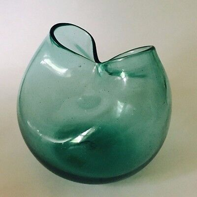 MCM 1960's Blenko Glass Sea Green Pinched Vase