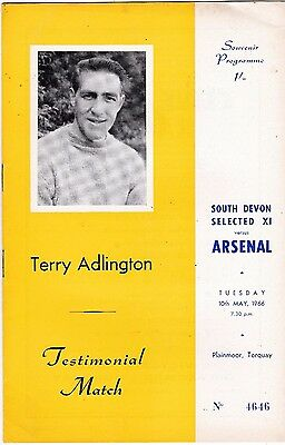 South Devon Selected Xi V Arsenal Terry Adlington Testimonial Match 10/5/66