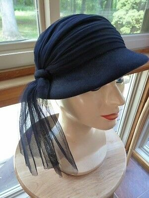 Vintage Navy Blue Wool Felt Scarf Wrap Pearl Brooch Ladies Hat