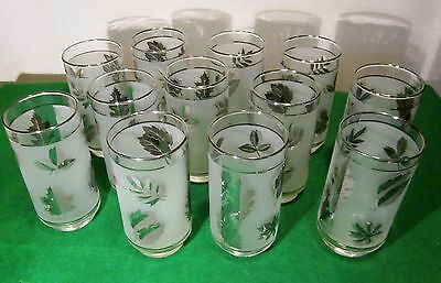 (12) - Mid Century VTG Silver Leaf Libbey 12oz Highball Glasses Tumblers ~MINT~