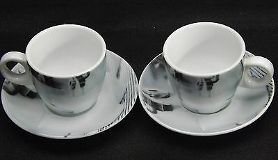 Nuova Point Espresso Cup Milano R2S Set of 2 Cups & Saucers Made In Italy