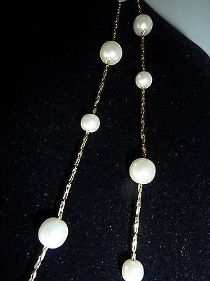 Vintage Gold Plated? Two Strand Faux Pearl Necklace
