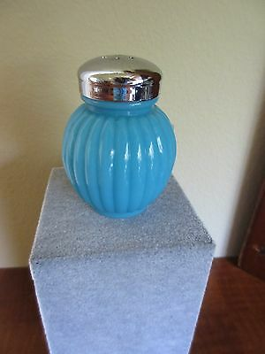 "Antique Blue Opal Glass Salt Shaker ""Rib,Bulbous 24"" Listed Scarce Lechner"