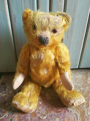 OLD VINTAGE ANTIQUE MERRYTHOUGHT STYLE ENGLISH CHARACTER MOHAIR TEDDY BEAR 1930s