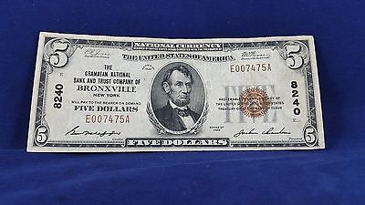 "scarce 1929 $5 NATIONAL CURRENCY TYPE 1 "" BRONXVILLE , NY <<<<<"