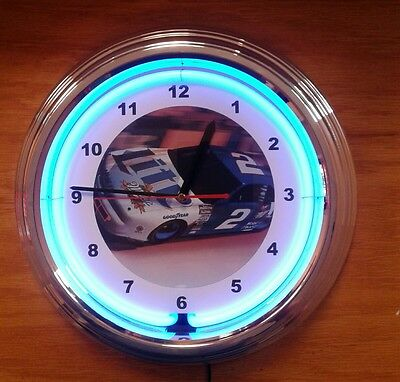 Blue Neon NASCAR #2 Car Wall Clock