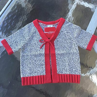 HANNA ANDERSSON Adorable Cotton Girl's Grey- Red Bow Cardigan, Size 2 years NEW!