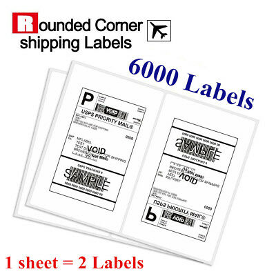 6000 Half Sheet Shipping Labels 8.5x5.5 Self Adhesive - USPS eBay Rounded Corner