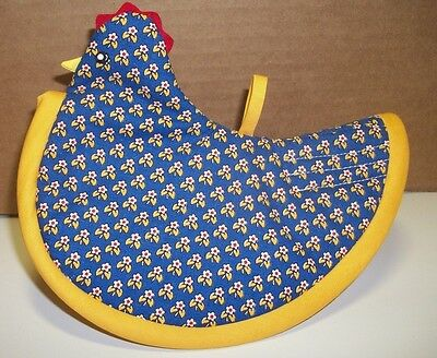 """handmade chicken potholder appx 7x6"""" blue w/gold,red,white small flowers"""