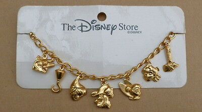 Disney Store Goldtone Peter Pan Charm Bracelet Older Style On Card