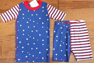 NEW Hanna Andersson STARS & STRIPES PAJAMAS sz 6 7 120 Boys Girls Organic July 4