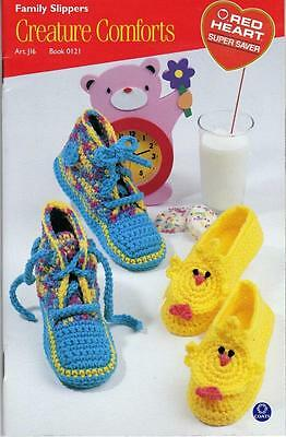 Red Heart Crochet/Knitting Pattern Book Family Slippers Creature Comforts