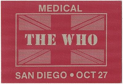 THE WHO *1982* RARE backstage medical pass ticket Roger Daltrey Pete Townshend