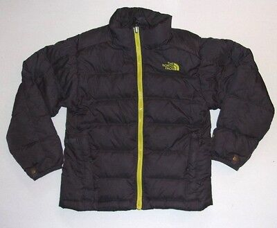 Black And Neon Yellow Boys 7/8 Small Puffer Jacket The North Face 550 Goose Down