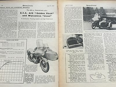 BSA A10 GOLDEN FLASH with WATSONIAN AVON SIDECAR 1958 2 PAGE B/W MOTORCYCLE TEST