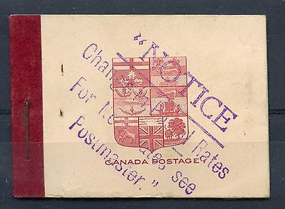 Weeda Canada BK5f Complete intact Admiral booklet, panes stuck to leaves CV $150