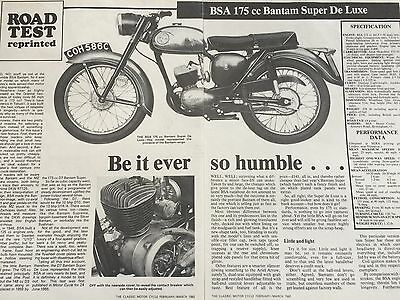 BSA 175cc BANTAM SUPER DE LUXE - REPRINTED 3 PAGE MOTORCYCLE TEST