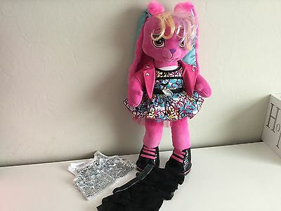 Build a Bear HG PINK & TURQUOISE Trendy RABBIT Plush Toy with OUTFIT & SHOES