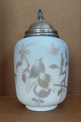Antique Pickle Castor Jar w/ Lid Hand Painted Glass Insert Birds & Nest Scene