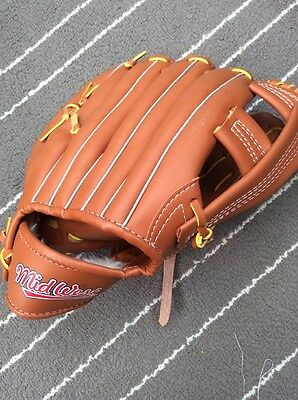 Kids Baseball Glove Mitt Mid West Clean Brown Leather Like
