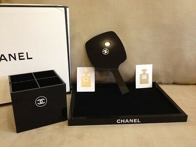 CHANEL VIP GIFT SET Large TRAY & MIRROR & Makeup Brush Holder Organiser BOX NEW