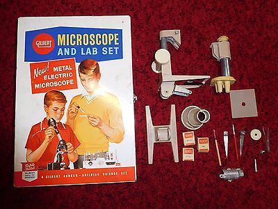 "Mid-Century Gilbert Microscope & Lab Set Box #13046 Vintage 13"" x 9"" x 4"""
