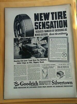 1938 Road-Drying Goodrich Safety Silvertown Tire Ad