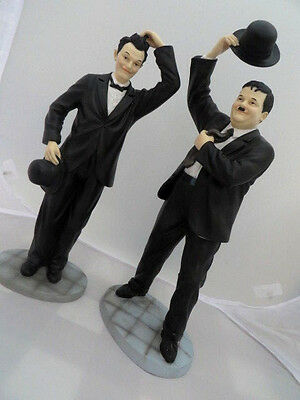 "Laurel and Hardy Leonardo Collection collectable figures 14"" and 12"" Tall"