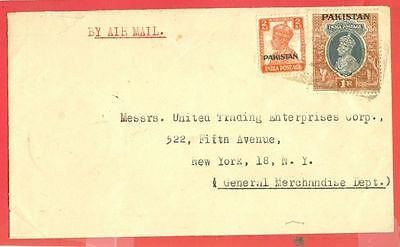 British India 1r + 2a Overprint PAKISTAN used on cover to USA  1948