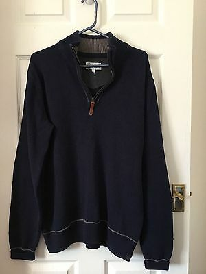 Mens Fat Face Jumper / Sweater Size Large Navy Blue With Brown Trim