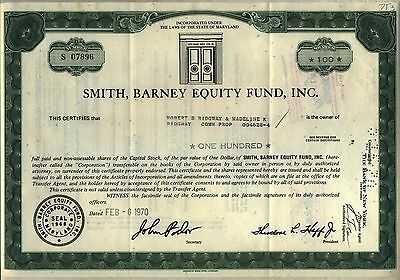Smith Barney Equity Fund Stock Certificate Maryland