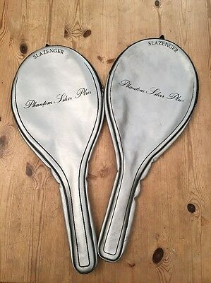 2 X Vintage Slazenger Tennis Racket Case - Phantom Silver Plus- 70cm Length