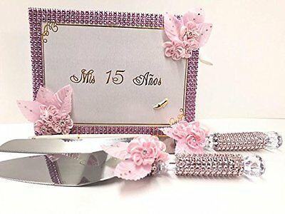 Mis Quince Anos Guest Book and Pen Cake Knife Server Set Sweet 15 Spanish