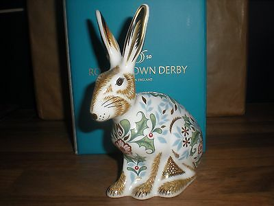 "Royal Crown Derby Paperweight "" WINTER HARE ""  - 1st quality - perfect - boxed"