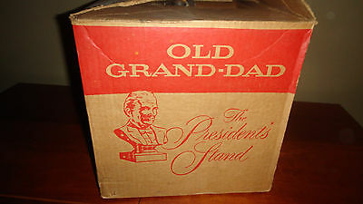 Vintage Old Grand-Dad  Glass Bottle  Wood Tilt Display Stand Bourbon NIB