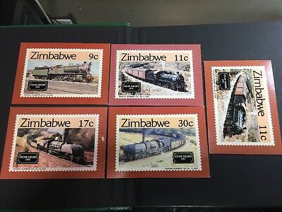 RARE - Zimbabwe Maxi Cards (postcard) Set #'s 487-491 - Plus Bonus Plus Error!!
