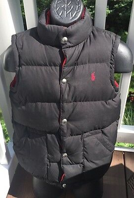 Ralph Lauren Boys Black/Red  Down Puffy Vest (L-14/16)/USED condition/STAINS